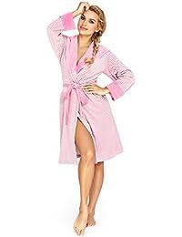 Damen Weich Knielange Baumwolle Bademantel, Luxus mit Kapuze Bademantel