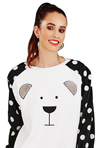 Loungeable Boutique Damen Schlafanzug, Gepunktet weiß weiß Small Black White Spot PJ