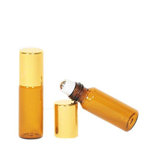 10PCS 5ml leer ätherisches Öl Bernstein Glas Roller Flasche Ampullen nachfüllbar Travel Cream Liquid Aromatherapie Parfüm Lip Balm Metall Ball auf Rolle Flaschen mit Gold Gap Glas Roller Ball Metall