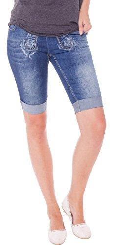 MarJo Damen Jeans Bermuda Shorts im Trachtenstyle, Größen:48;Farben:blau