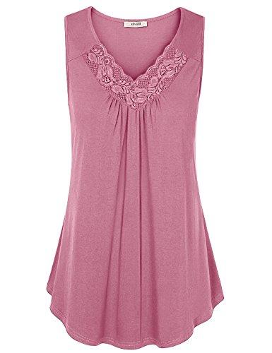 Sleeveless Tops Für Frauen, Vivilli Sommer Bluse Shirts V-Ausschnitt Rüschen Stretchy Light Pink Tanks Tops Dunkel Pink M (Stricken Activewear)