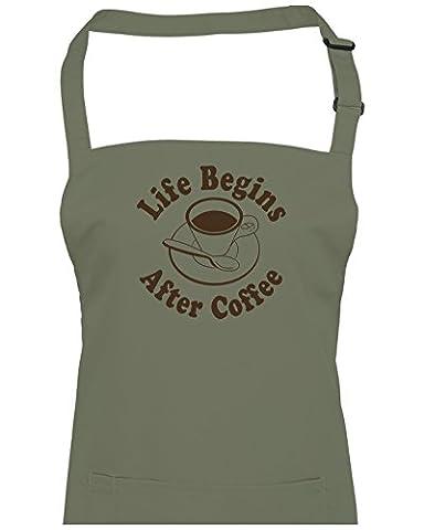 La Vie commence après Coffee- caffine Addict Unisexe Tablier de cuisine de chef de fatcuckoo, Vert - Vert olive, taille unique
