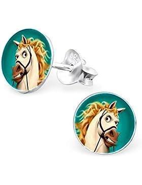 GH1a Märchen Rapunzel Pferd Maximus Ohrstecker 925 Echt Silber Ohrringe Mädchen