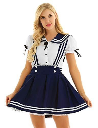 Agoky Damen Jugendlich Schulmädchen Uniform Bluse Shirts mit A Linie Träger Minirock Hosenträger Rock Matrose Cosplay Kostüm Outfits Marineblau&Weiß Small (Japanische Schulmädchen Matrose Uniform Cosplay Kostüm)
