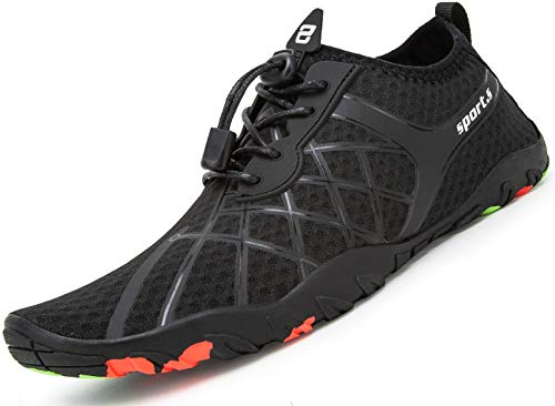 d18bad035782f Mabove Water Shoes Womens Mens Quick Dry Barefoot Sports Aqua Shoes for  Swimming Pool Beach Boating Snorkeling Diving Lake Yoga(Black/910,4 UK)