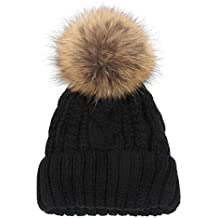 Molie Chapeau Bonnet Tricot Cap Femme Crochet Hiver Chaud Festival Style Pompon