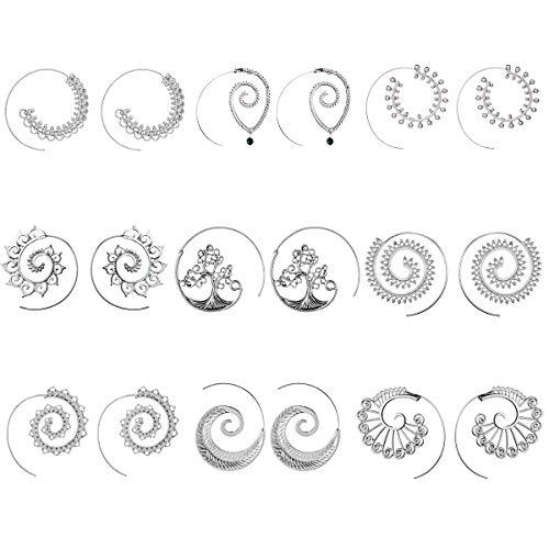 a73d625319da Hace 7 horasJuego de 9 pares de pendientes de espiral estilo bohemio para  mujerAmazon