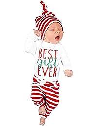 K-youth Ropa Bebe Nino Recien Nacido Otoño Invierno Ofertas Infantil Blusas Bebe Niña Manga Larga Camisetas Bebé Mono Mameluco Tops + Raya Pantalones + Sombrero