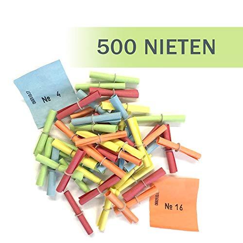 PARTY DISCOUNT Röllchenlose Nieten, bunt gemischt, 500 Stück