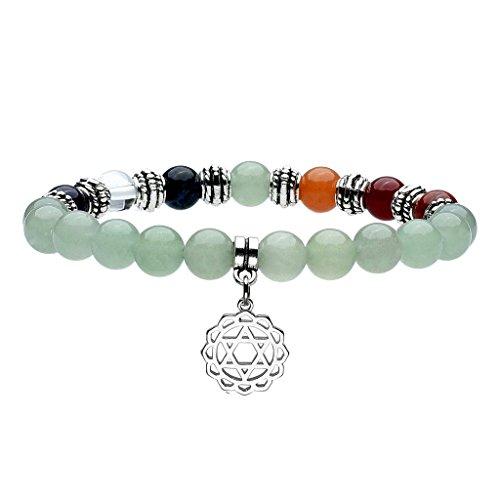 JOVIVI Schmuck , Aventurin Stein Armband 7 Chakra Anahata Symbol Anhänger Balance Armreif Reiki-Therapie Yoga-Armband