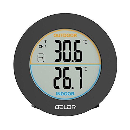 iBaste Wireless Thermometer Innen und Außen Wetterstation Thermometer Thermo Hygrometer, Klima-Monitor mit Funk-Außensensor - Wireless Thermo-hygrometer