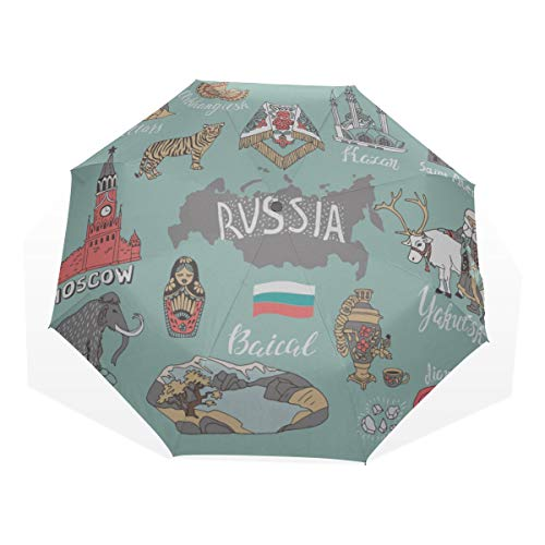 Wahrzeichen Collection (Regenschirm-Kollektion mit nationalen Wahrzeichen und Symbolen Karte Anti-UV-Kompakt 3-Fach Kunst Leichte Faltbare Regenschirme (Außendruck) Winddicht Regen Sonnenschutzschirme für Frauen Mädchen)