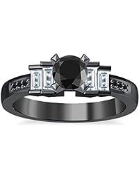 Silvernshine 1.35Ct Round & Buget Cut Black Sim Dimoands 14K Black Gold Plated Engagement Ring