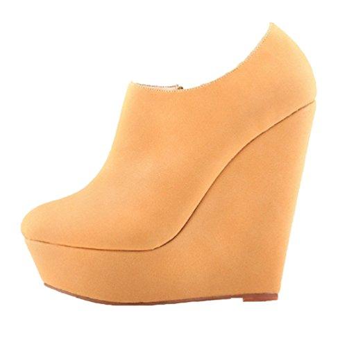 HooH Femmes Sexy Dull Polonaise Wedge Escarpins Roma Boots Abricot
