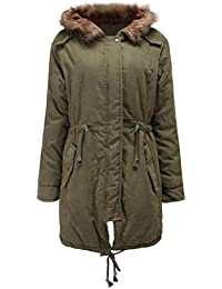 Bluelucon Damen Winter Jacke Lange Mantel Teddyfell Wintermantel mit Kapuze  warm Faux Fur Winterjacke Lässig Parka 6674145332