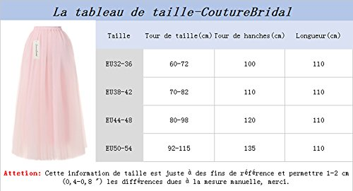 CoutureBridal® Jupe Tutu Femme Longue 6 Couches Elastic Ceinture Princesse Tulle 110cm Rouge Vineux