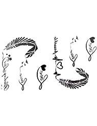2012 nouveau design Les nouveaux autocollants de tatouage imperméable à l'eau de libération des femmes de lettres en noir et blanc de tatouages alphabet des plumes ECG faux