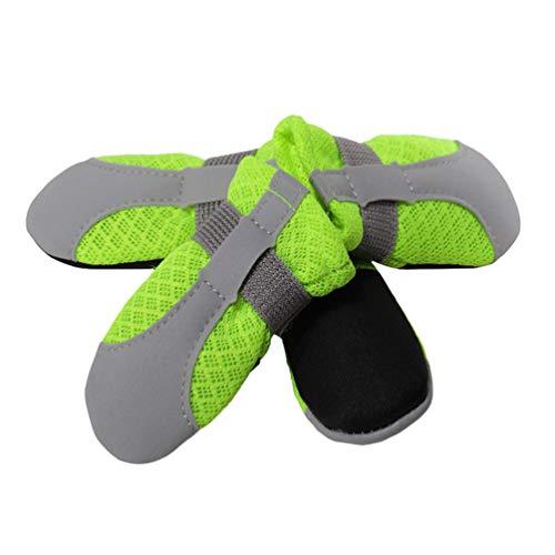 Kuncg Paw Protector Perro Mascota Botas Malla Transpirable Y Antideslizante De Protección A Prueba De Polvo A Fondo Suave Sandalias para Caminar De Cachorro Fluorescencia Verde M