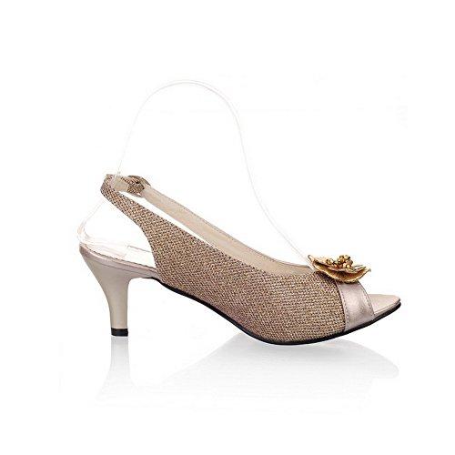 Odomolor Damen Mittler Absatz Weiches Material Eingelegt Schnalle Fischkopf Schuhe Sandalen Golden
