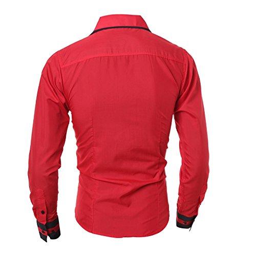 Glestore camia da uomo manica lunga tina unia casual Rosso