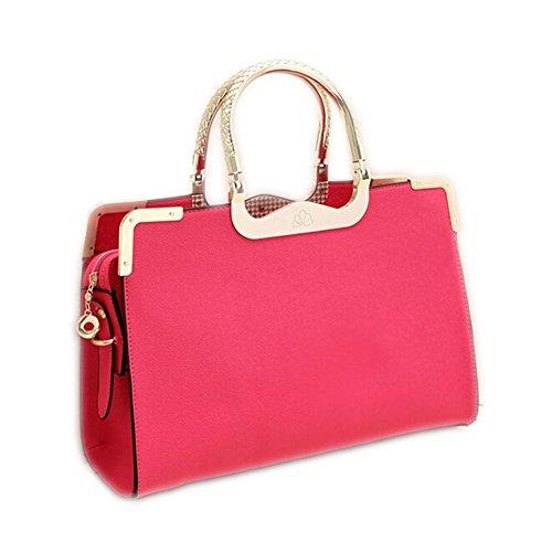 DELEY Damen Mode Für Hochzeit Braut Tote Handtaschen Schulter Crossbody Beutel Rose Rot