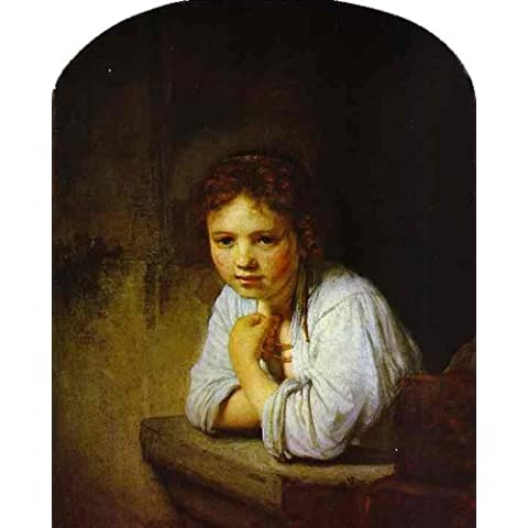 Pittura a olio dipinta a mano - 19 x 24 inches / 48 x 61 CM - Rembrandt Van Rijn - A Young Girl Leaning on a Window-Sill