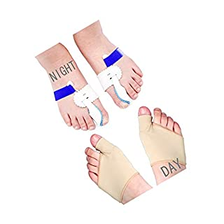 LEEQ 2 Paar Tag Amper; Nacht-Korrektur, Hallux Valgus Orthopädische Stützen Zehenkorrektur, Fußpflege, Daumen, Big Bone Orthopädische Zehenspreiser, Ausrichtung, Straightener Schiene