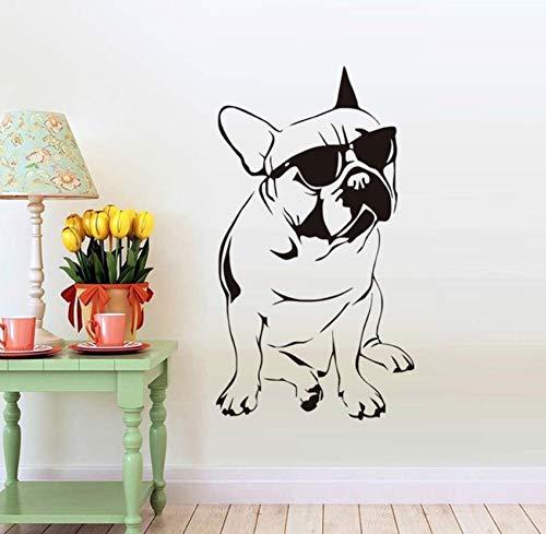 Hübsche Französische Bulldogge Mit Sonnenbrille Wandaufkleber Für Jungen Schlafzimmer Vinyl Tier Wandtattoo Kids Home Decoration 33x59cm