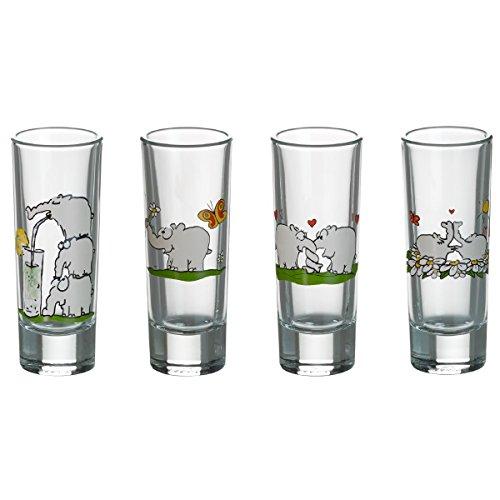 Otto by Ritzenhoff AG OW-0020 Schnapsglas, Shotglas, Pinnchen Ottifanten, Otto Waalkes, 40 ml, 4-er Set