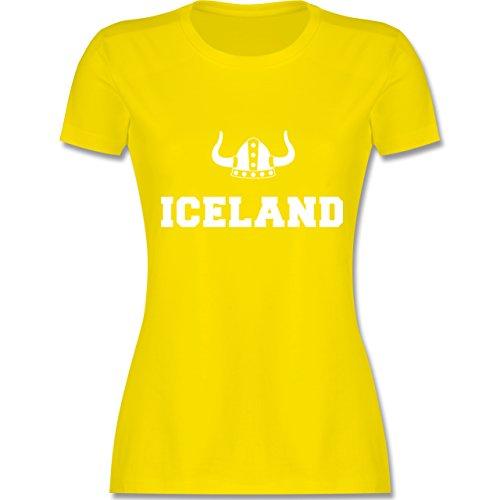 Länder - Iceland + Wikingerhelm - tailliertes Premium T-Shirt mit Rundhalsausschnitt für Damen Lemon Gelb