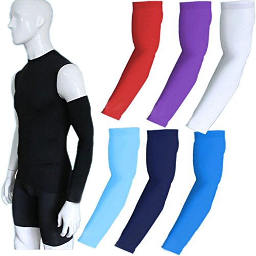 COOLOMG (1Pair) Compression Arm Sleeves UV Protection Cover Elbow Arm Warmers for Kids Adults 30+ Colors/Patterns