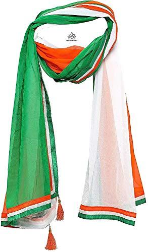 Gracious Mart Women's Chiffon Tiranga Tricolor Dupatta (AAGWDT, Orange, White, Green, Free Size)