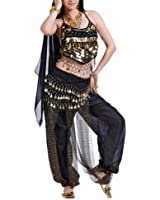 BellyLady Egyptian Belly Dance Costume, Halter Bra Top and Tribal Harem Pants