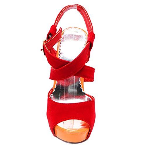 TAOFFEN Femme Mode Plateforme Talon Haut Sandales Sangle De Cheville Boucle Sandales 1030 rouge
