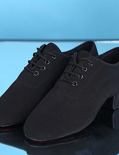 ShangYi Chaussures de danse ( Noir ) - Non Personnalisables - Talon Bas - Toile - Latine Black