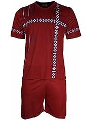 Herren Schlafanzug Shorty T-Shirt bedruckt Hose unifarben kurz 2-tlg in 6 Farben - Qualität von Lavazio®
