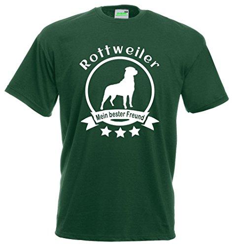 Rottweiler - Mein bester Freund, Hunde T-Shirt, Dogman, Gassimann, Gassifrau, Premiumshirt von Bimaxx® Flaschengrün