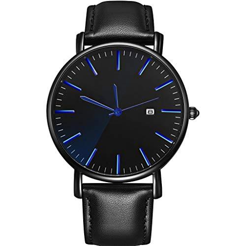 Knowin Armbanduhr Männer Uhr Weiche Lederband Mode Uhr Simulierte Quarz-Uhr Business Freizeit Armbanduhren Klassische Uhr für Männer Leder Armbanduhr