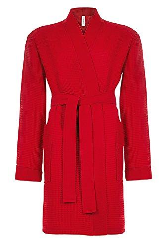 Taubert Spa Thalasso Short Kimono kurzer Bademantel 100 cm Pique XS Rot