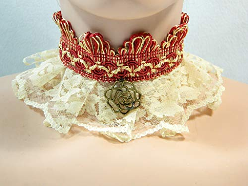Halsband creme rot rose Steampunk Viktorianisch Barock Rokoko Halskrause Choker