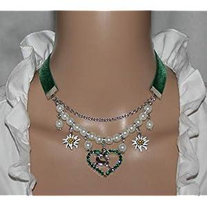 Halskette Springender Hirsch mit Herz und Edelweiss Kropfband Trachtenschmuck