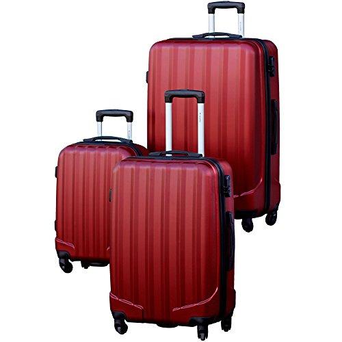 Traveller Hartschalen Kofferset Prague (S, M & L) - 4 Rollen 3er Reisekoffer Set, Rot mit TSA Zahlenschloss