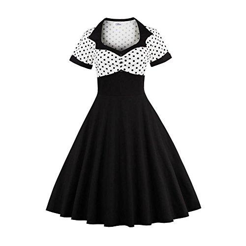 Damen Retro Schwarz Weiß Polka Dot Kleid Anzugkragen Revers Button Down Knopf Kurzarm Pinup Hohe Taille A-Linie Flare Abendkleid Plissee Tee Kleid(3XL) -