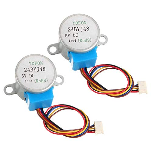 ZCHXD 2PCS 24BYJ48 DC 5V Reduction Stepper Motor Micro Reducer Motor 4-Phase 5-Wire 1/64 Reduction Ratio -