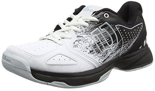 Wilson Junior Tennisschuhe Kaos Comp Junior, Offensives Spiel, für Jeden Untergrund, Synthetik, Schwarz/Weiß (Black/White/Pearl Blue), Größe: 37 2/3 (Junior-mädchen-schuhe)