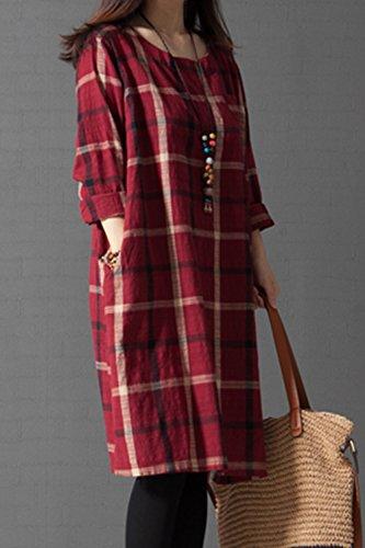 Frauen Eleganten Karierten Vintage - Lange Ärmel Leinen - Baumwoll - Loose Fit Maxi - Kleid Und Größe Red
