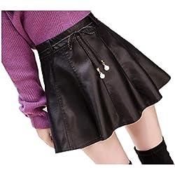 Andopa Una línea de falda de moda de gran altura cuero de la PU mini falda del patinador para Mujeres XL Negro