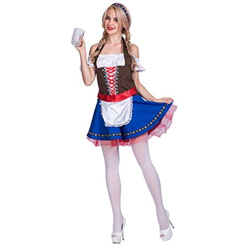 EraSpooky Damen Oktoberfest Biermädchen Dirndl Trachtenkleid Kostüm Partykleid mit Stirnband