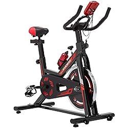 KUOKEL K608 Bicicleta de Spinning Bicicleta estática con Rueda de inercia Resistencia Variable Digital Pantalla LCD Soporte de Agua Asiento y Manillar Ajustables Profesional Uso doméstico (Negro)