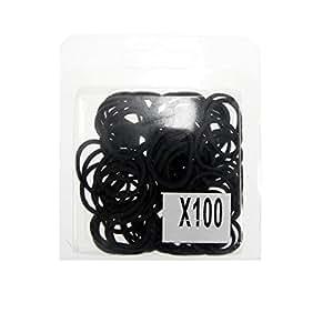 Lot de 100 Elastiques Cheveux Noir - Caoutchouc - Accessoires Attacher Cheveux